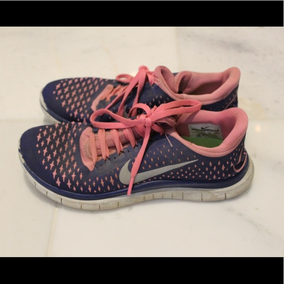 promo code d56f0 0340b Nike free 3.0 pink and blue tennis shoes